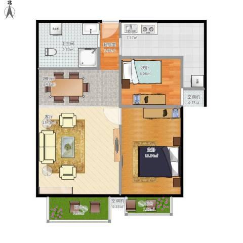 上上城青年新城2室1厅1卫1厨81.00㎡户型图