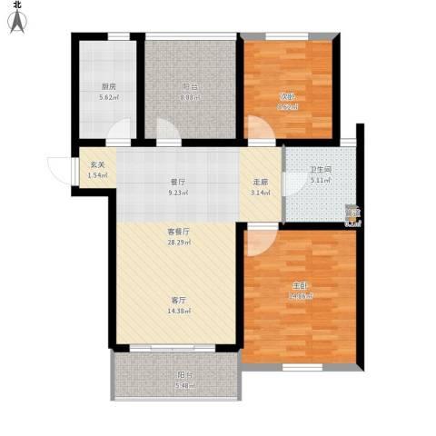 首创・悦都2室1厅1卫1厨110.00㎡户型图