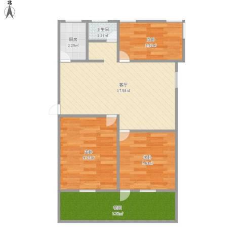 绿梅公寓(莘庄)3室1厅1卫1厨71.00㎡户型图