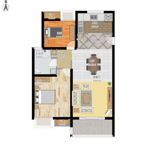 中信泰富又一城2室1厅1卫1厨112.00㎡户型图