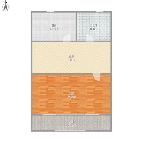汾西路261弄小区1室1厅1卫1厨126.00㎡户型图