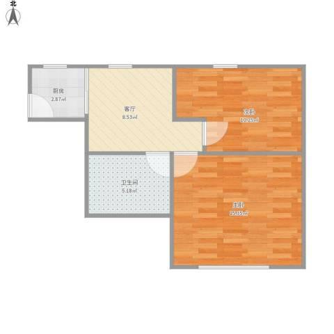 东南一村2室1厅1卫1厨57.00㎡户型图