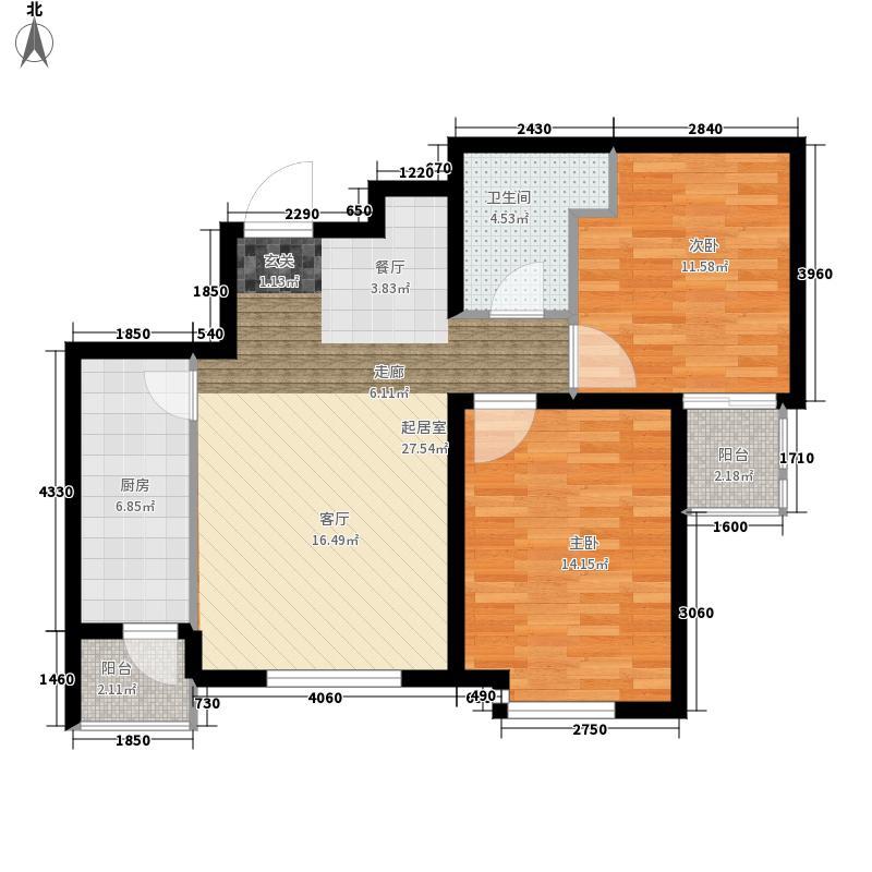 明湖白鹭郡78.27㎡西区1#楼东户型2室2厅
