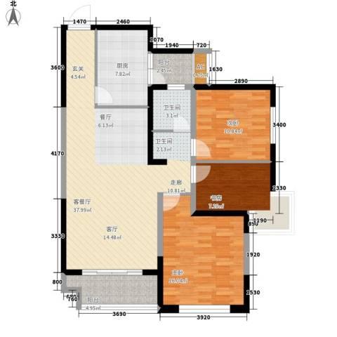 润泽东都二期宽域3室1厅1卫1厨104.00㎡户型图