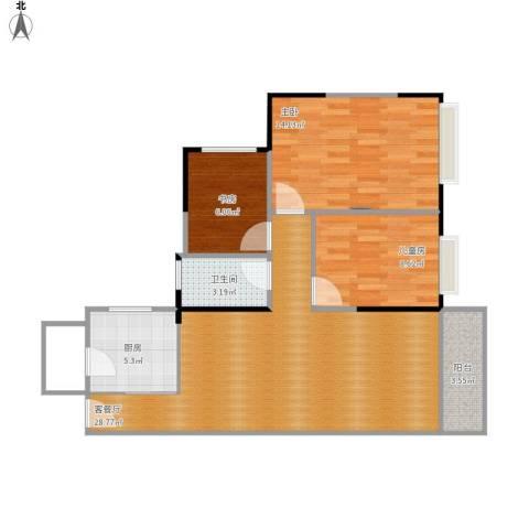 锦绣龙湾3室1厅1卫1厨94.00㎡户型图