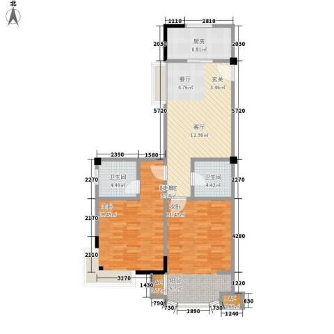 圣日华庭2室0厅2卫1厨91.00㎡户型图