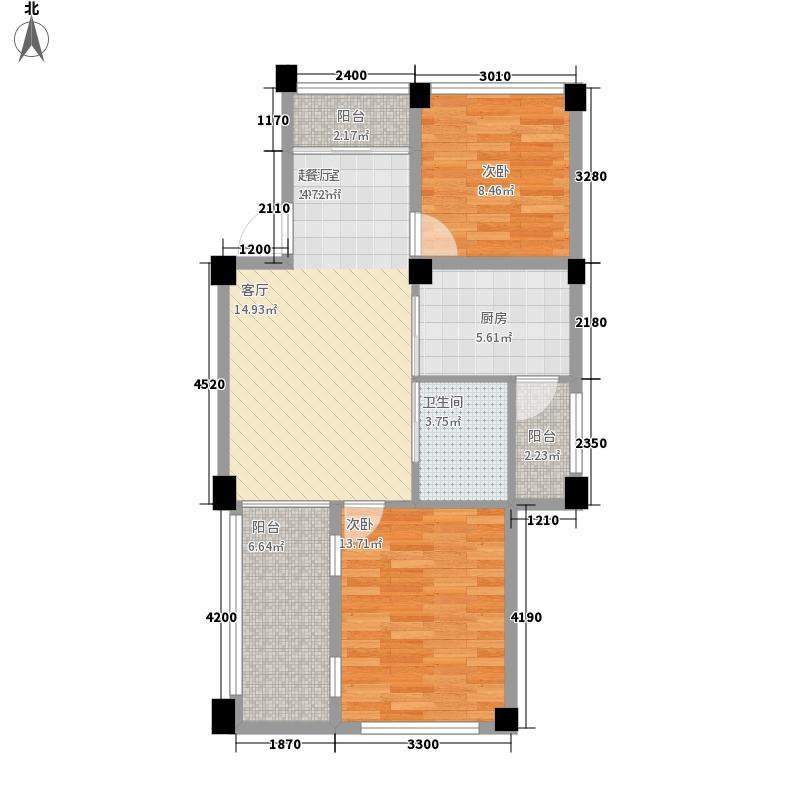 银海大理山水间大理山水间1花园2阳台E4户型2室2厅
