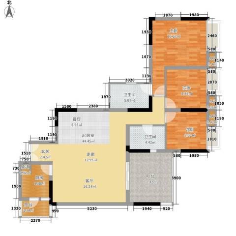 佳禾钰茂香港城3室0厅2卫1厨106.00㎡户型图