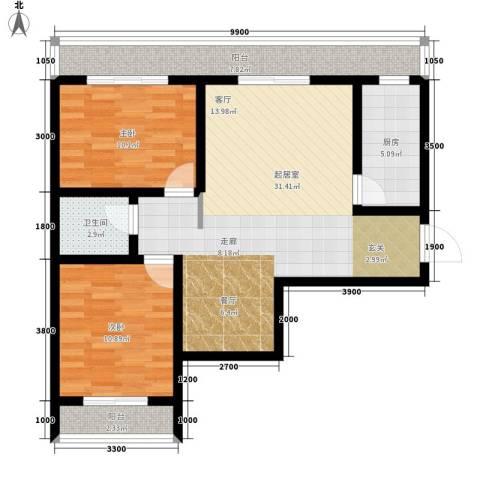 易居・山水豪庭项目2室0厅1卫1厨104.00㎡户型图