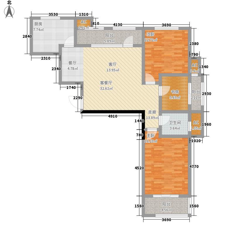 明湖太学苑118.16㎡1#楼户型3室2厅