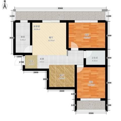 易居・山水豪庭项目2室0厅1卫1厨103.00㎡户型图