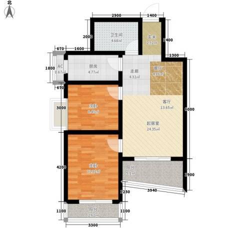 易居・山水豪庭项目2室0厅1卫1厨92.00㎡户型图