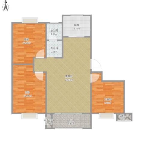 天业盛世豪庭3室1厅1卫1厨101.00㎡户型图