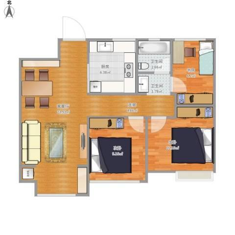 海亮香榭里3室1厅1卫1厨89.00㎡户型图
