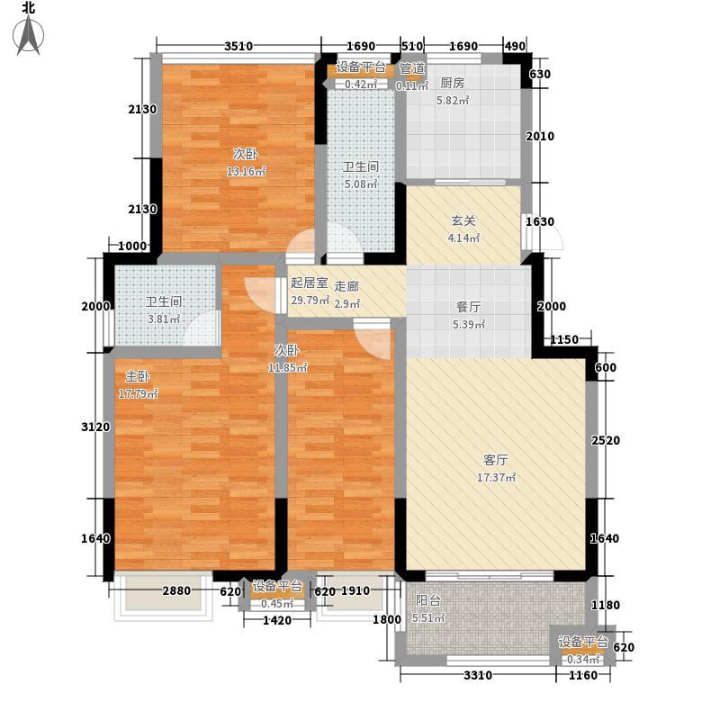 明发云庭118.00㎡B装修效果图户型3室2厅