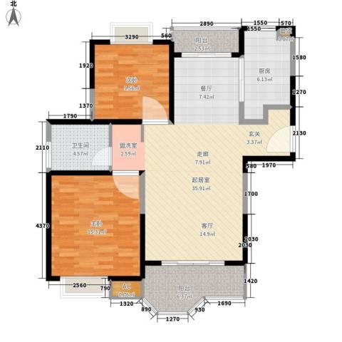 合生城邦三街坊2室0厅1卫1厨91.00㎡户型图