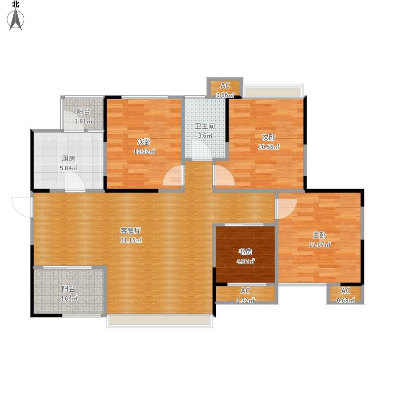 广信鹭岛B4户型三室两厅一卫