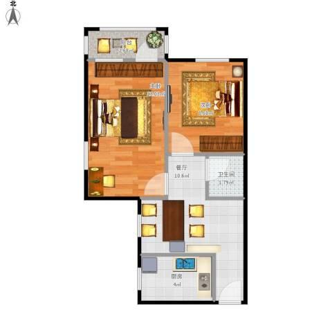 中关村南大街40号院2室1厅1卫1厨78.00㎡户型图