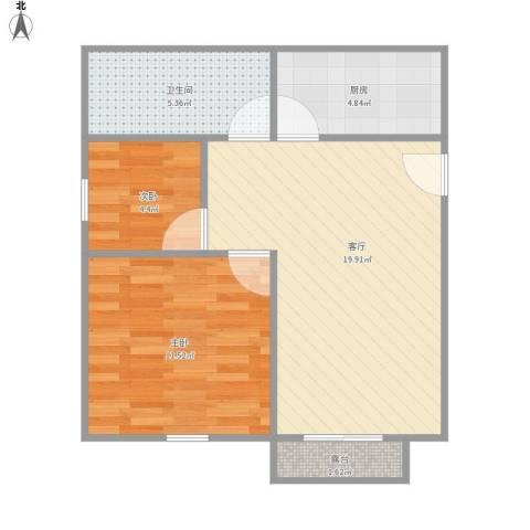 水语人家南苑2室1厅1卫1厨65.00㎡户型图