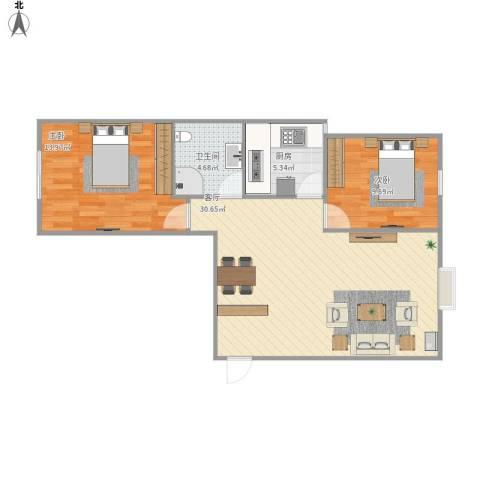 中央花城2室1厅1卫1厨86.00㎡户型图