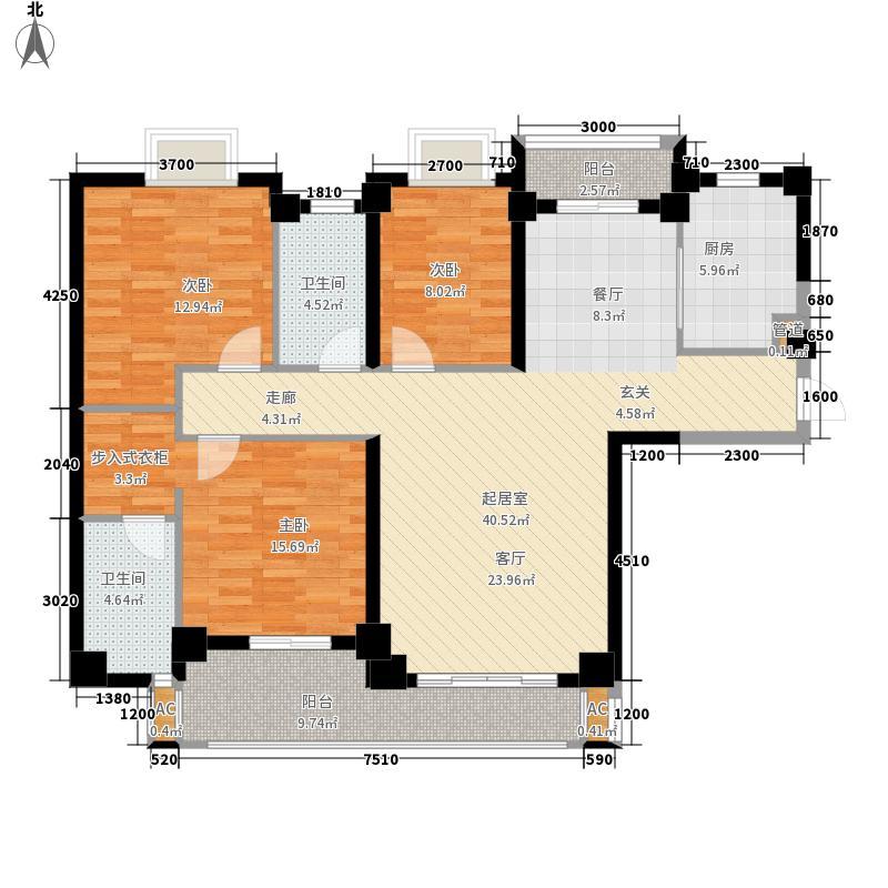天湖城天源138.00㎡A地块3#楼D户型3室2厅