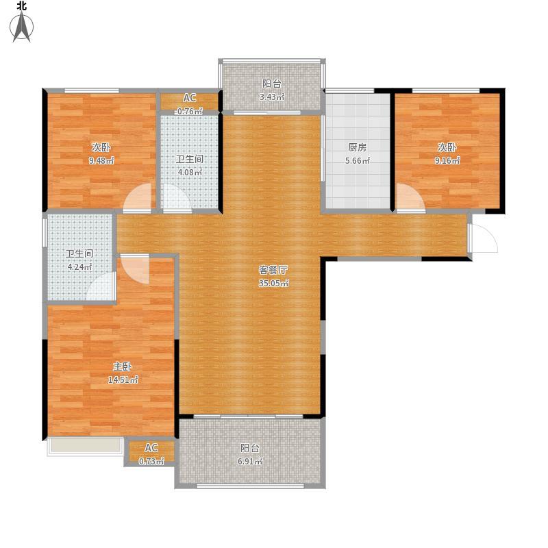 联发·九都国际121平B1户型三室两厅两卫