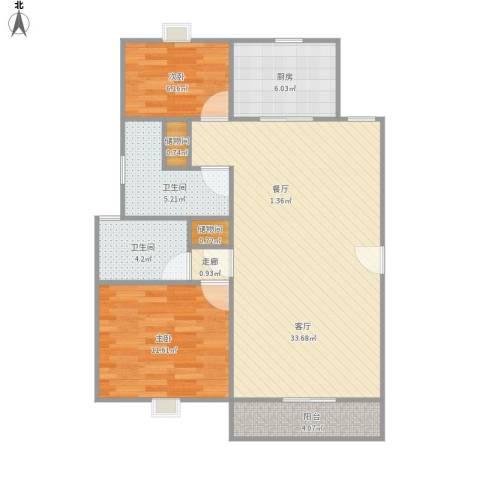 金地格林世界圣莫尼卡2室1厅2卫1厨99.00㎡户型图