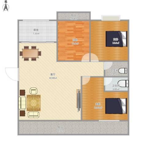 特房G01新座3室1厅2卫1厨152.00㎡户型图