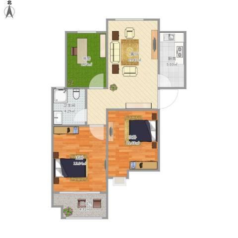 怡馨家园3室1厅1卫1厨89.00㎡户型图