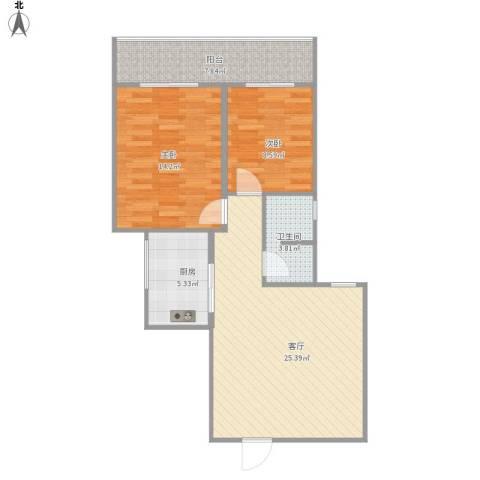 咸阳世纪锦城2室1厅1卫1厨89.00㎡户型图