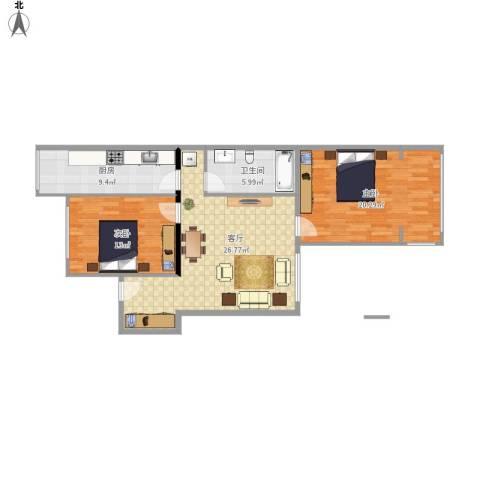 孙王场小区2室1厅1卫1厨103.00㎡户型图