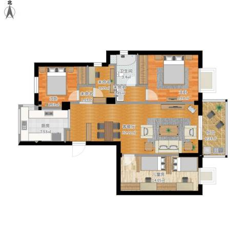 格兰春晨二期加州里3室1厅1卫1厨131.00㎡户型图