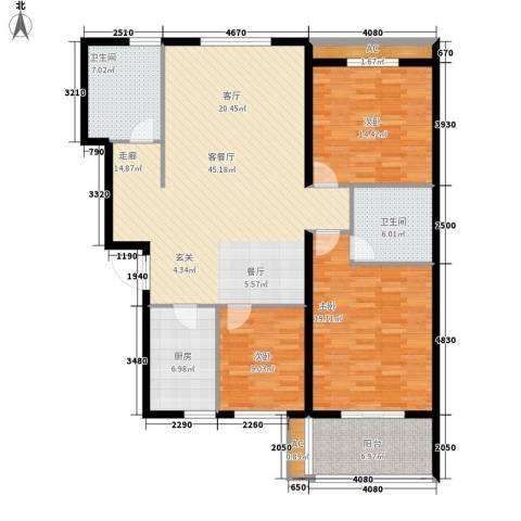 国大太阳都市花园3室1厅2卫1厨131.00㎡户型图