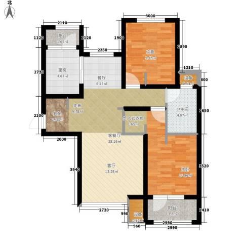 天成佳境2室1厅1卫1厨95.00㎡户型图