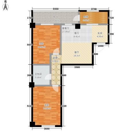 南山学府2室1厅1卫1厨89.00㎡户型图