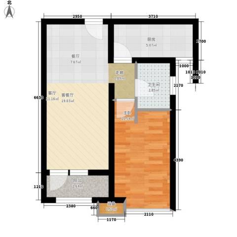 天成佳境1室1厅1卫1厨61.00㎡户型图
