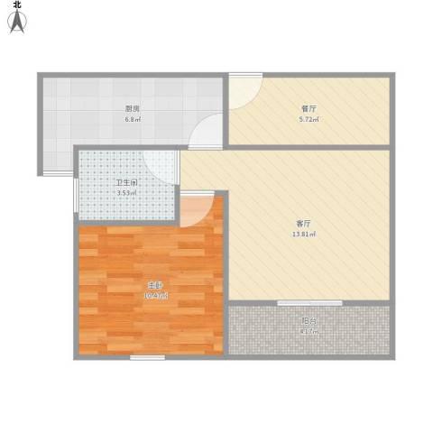 金地格林世界森林公馆1室2厅1卫1厨48.84㎡户型图