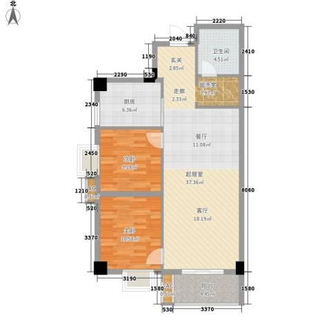 海威・财富广场2室0厅1卫1厨90.00㎡户型图