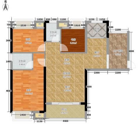 平安摩卡城3室0厅2卫1厨122.00㎡户型图