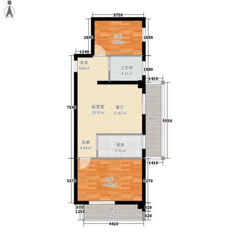 海威・财富广场2室0厅1卫1厨77.00㎡户型图