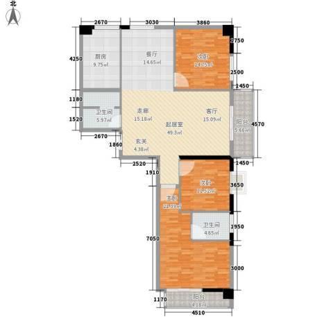 海威・财富广场3室0厅2卫1厨141.00㎡户型图