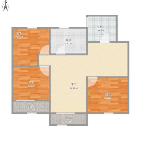 昌里花园二期3室1厅1卫1厨87.00㎡户型图