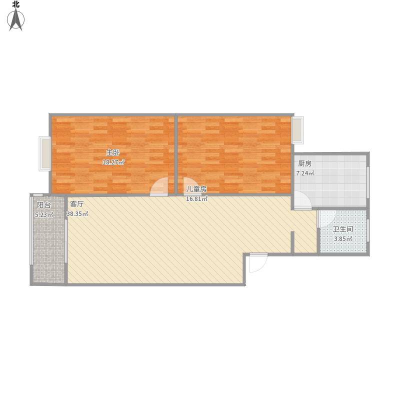 B型二房二厅的户型图