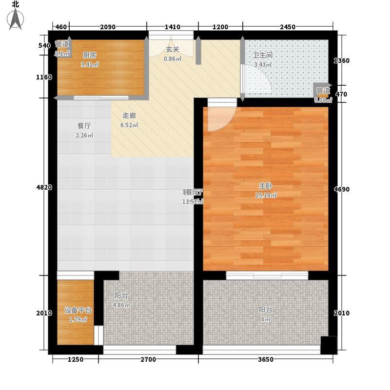 昆泉·天籁村64.86㎡标准层户型1室2厅