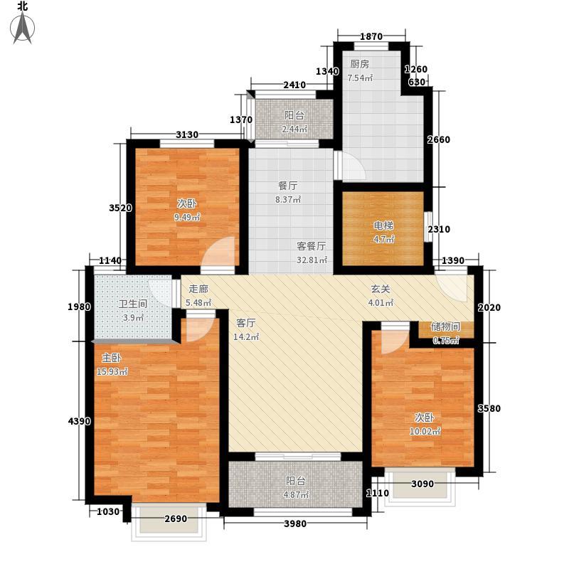 海亮院里105.00㎡户型3室2厅