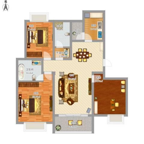 越湖名邸3室1厅2卫1厨158.00㎡户型图
