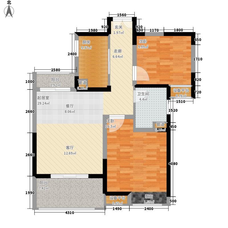 奥克斯盛世缔壹城88.00㎡G6户型2室2厅
