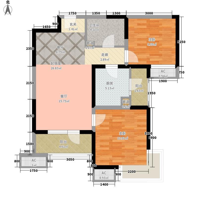 海景文苑99.00㎡高层6#、9#标准层C2反户型2室2厅