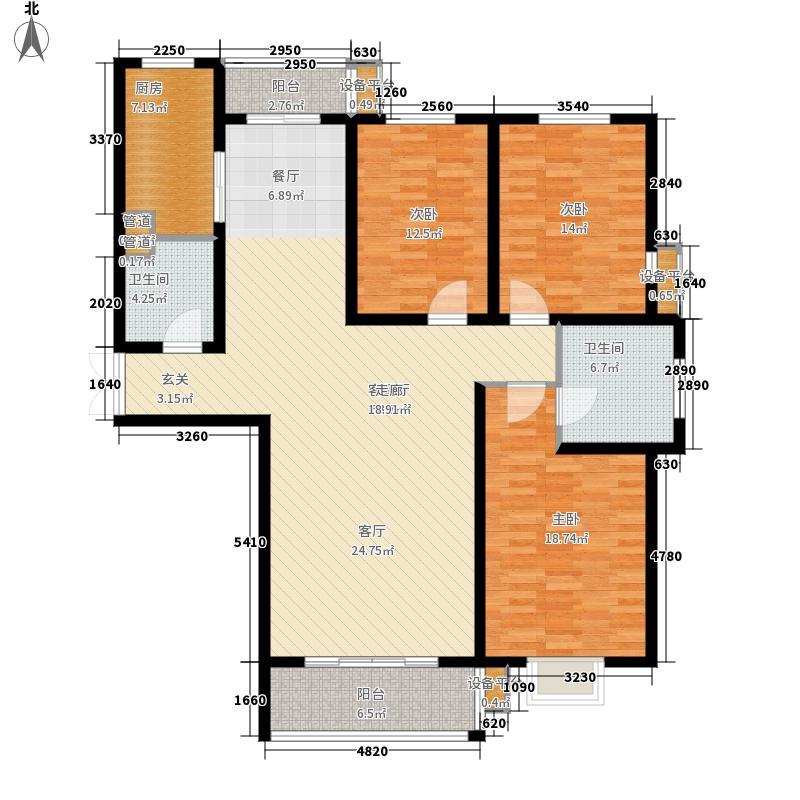 昆泉·天籁村146.13㎡标准层户型3室2厅