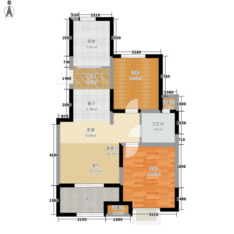 蓝山湾二期荣域83.80㎡二期A2户型2室2厅1卫
